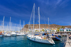 Marina of Puerto de Mogan, a small fishing port on Gran Canaria Stock Photos