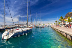 Marina of Puerto de Mogan, a small fishing port on Gran Canaria Royalty Free Stock Photo