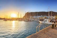 Marina of Puerto de Mogan at sunset Stock Image