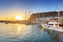 Marina of Puerto de Mogan at sunset Royalty Free Stock Photo