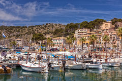The marina at Puerto de Soller, Mallorca. The attractive  marina of Puerto de Soller on the west coast of Mallorca.   Set within the Tramuntana mountains Stock Photo