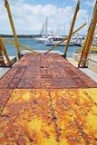 Marina Punat, adriatische Küste, rostige Docks, 1, Kroatien Lizenzfreie Stockbilder
