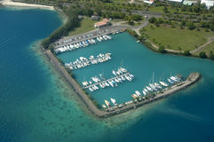 Marina at Raiatea. Aerial WS over marina at Raiatea in French Polynesia Stock Photos