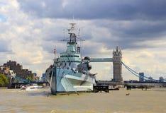 Marina reale Londra della nave da guerra Immagine Stock Libera da Diritti