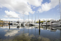 Marina Reflection at Granville Island Vancouver BC Stock Photos
