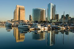 Marina Reflections. Marina and City Reflections in the Morning Royalty Free Stock Photos