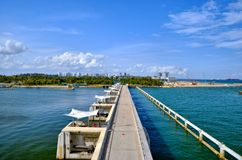 Marina Reservoir en Versperring, Singapore Royalty-vrije Stock Foto