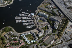 Marina with residential area in Vancouver Stock Photo