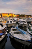 Boats in a Marina, Rovinj, Croatia. Boats in the marina in Rovinj, Croatia at sunset stock images