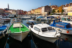 Marina of Rovinj town, Croatia Stock Image