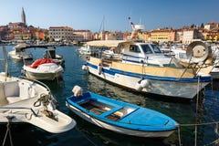 Marina of Rovinj town, Croatia Stock Photos