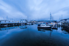 Marina with sail boats at twilight in Plymouth UK Royalty Free Stock Photography