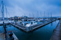 Marina with sail boats at twilight in Plymouth UK Royalty Free Stock Images