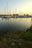 Marina Sailboats. Sailboats at the marina in ashbridges bay with foreground shorelines Stock Photos