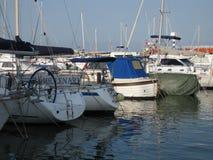 Marina with sailboats moored at the docks royalty free stock images