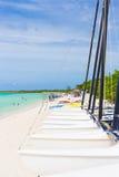 Marina with sailing boats at a tropical beach in Cuba Stock Image