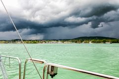 Marina with sailing yachts, bad weather royalty free stock photo