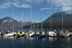 Marina of Saint-Jorioz on Annecy lake Royalty Free Stock Images