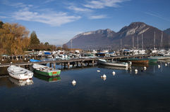 Marina of Saint-Jorioz on Annecy lake Royalty Free Stock Photos