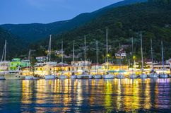 The marina in Sami town on Kefalonia Island in the evening stock photo
