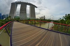 Marina Sands Bay. Beautiful futuristic building with backgorund of sky and clouds Royalty Free Stock Image
