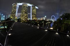 Marina Sands Bay. Beautiful futuristic building with backgorung od night sky and clouds Stock Images