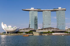 Marina Sands Bay Resort and Blue Skies. MARINA SANDS BAY, SINGAPORE - JULY 29, 2016: Viewed from across Marina Bay, this Singapore landmark resort and convention stock photo
