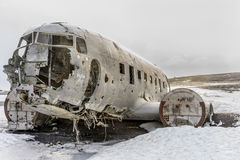 Marina schiantata DC-3 in Islanda Fotografia Stock Libera da Diritti