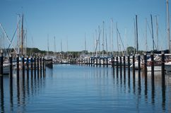 Marina in Schilksee, Kiel, with some boats Royalty Free Stock Image