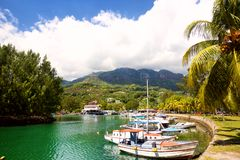 Marina in Seychelles stock photos