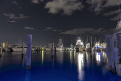 A southern Florida Marina in HDR at night. Shot at night - a marina in West Palm Beach Royalty Free Stock Photo