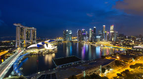 The Marina of Singapore by night. Seen from above Royalty Free Stock Photography