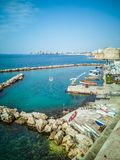 Marina with small boats on the coast on the seafront of Taranto in Italy. royalty free stock photo