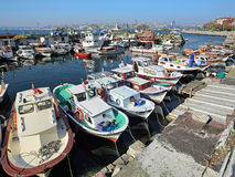 Marina with small motor boats in Istanbul, Turkey Stock Images