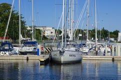 Marina Solna in Kolobrzeg. Sailboats moored to the quay stock photography