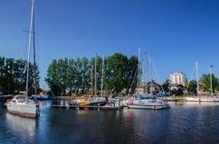 Marina Solna in Kolobrzeg. Sailboats moored to the quays marina stock photography