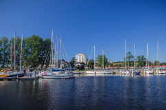 Marina Solna in Kolobrzeg. View of the blue marina in Kolobrzeg. Yachts moored along the quays Royalty Free Stock Photo