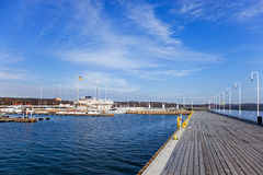 Marina in Sopot. Marina to the pier from the city flag on the mast in Sopot, Poland Royalty Free Stock Photography