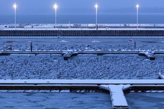 Marina by Sopot pier in winter scenery. Sopot, Pomerania, Poland stock images