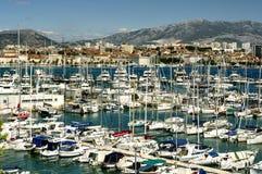 Marina in Split, Croatia. Sailboats and yachts in marina of Split, Croatia on sunny day royalty free stock image