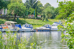 Marina. Sport boats, sailing boats in a small motorboat JachthHafen Stock Image