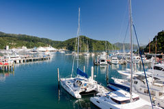 Marina at sunny day. Picton marina in northern tip of South Island, New Zealand stock images