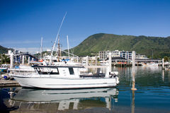 Marina at sunny day. Picton marina in northern tip of South Island, New Zealand stock photos