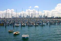 Marina at sunny day. Marina at Sent Kilda bay in Melbourne, Australia stock photos