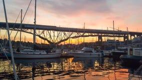 Marina at sunset Stock Photo