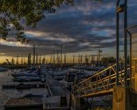 Marina at sunset Stock Photos