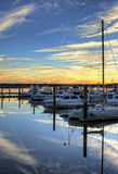 Marina at sunset hdr Royalty Free Stock Photos