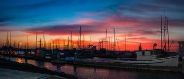 Humboldt Bay Marina Sunset royalty free stock photography