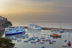 The marina at sunset, La Palais the island of Belle Ile en Mer. Royalty Free Stock Images