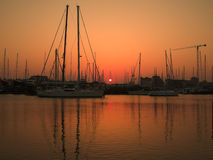 Marina sunset landscape stock image